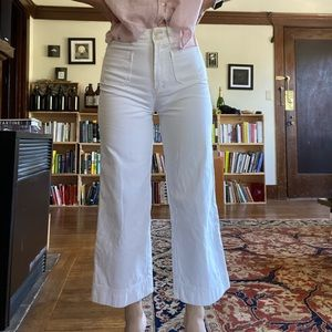 Marine Layer Bridget wide leg pant, white, sz 0